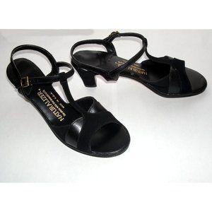 Naturalizer Black T-Strap High Heel Sandals, 9N